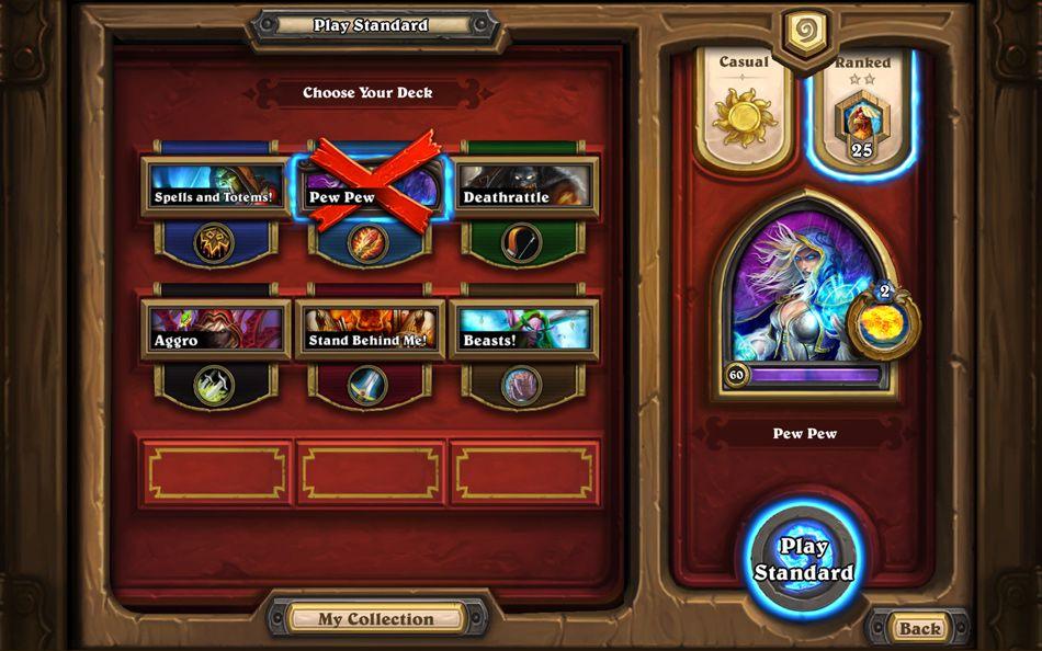 Hearthstone play screen standard format