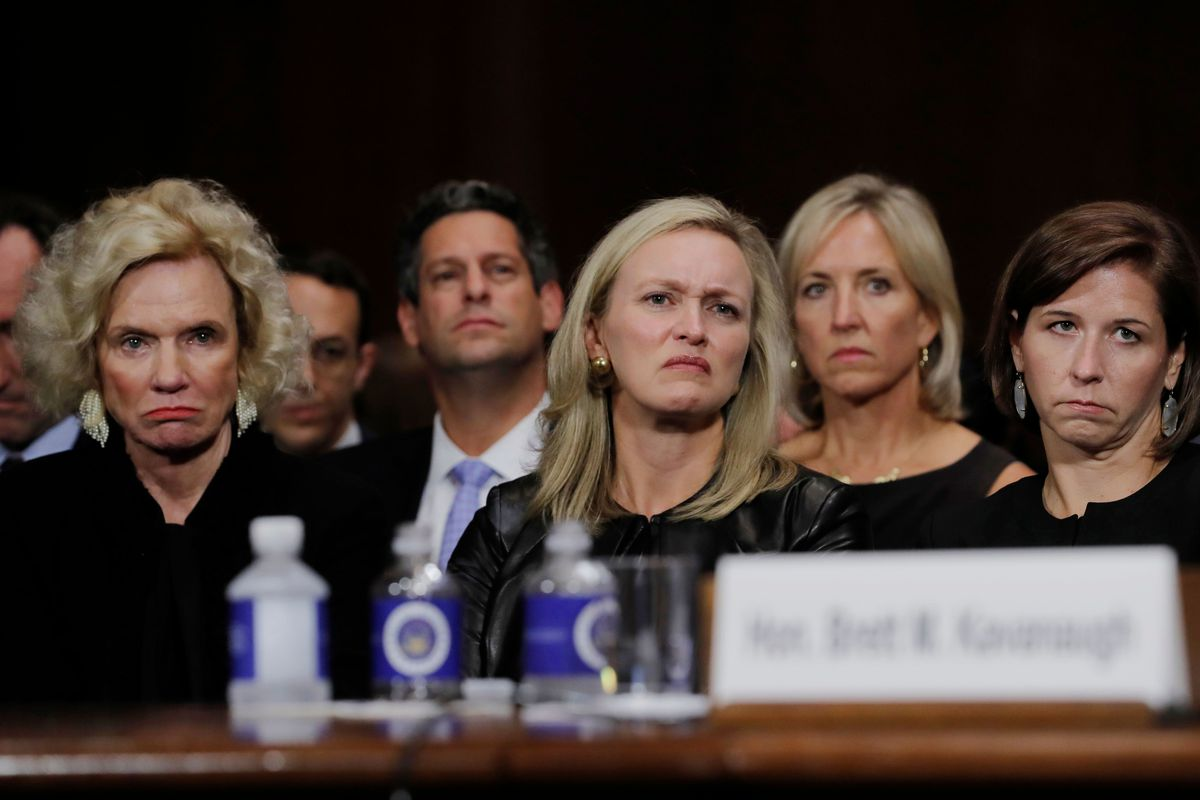 The audience sitting behind Brett Kavanaugh during his Senate testimony, including Facebook VP for Global Public Policy Joel Kaplan