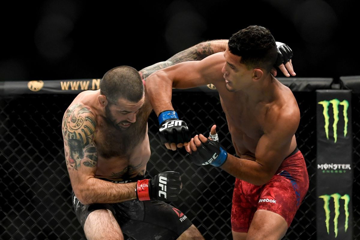 Matt Brown of the United States fights Miguel Baeza of the United States in their Welterweight bout during UFC Fight Night at VyStar Veterans Memorial Arena on May 16, 2020 in Jacksonville, Florida.