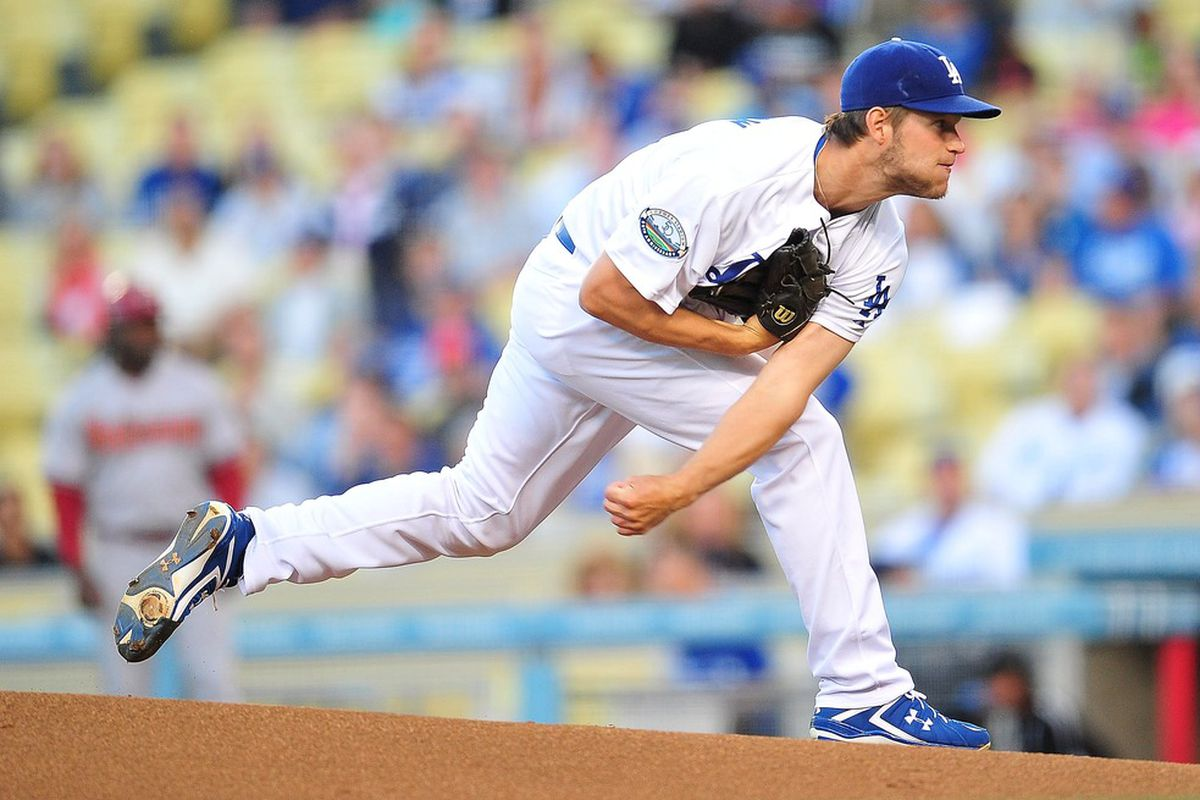 May 14, 2012; Los Angeles, CA, USA; Los Angeles Dodgers starting pitcher Clayton Kershaw (22) pitches in the first inning against the Arizona Diamondbacks at Dodger Stadium. Mandatory Credit: Gary A. Vasquez-US PRESSWIRE