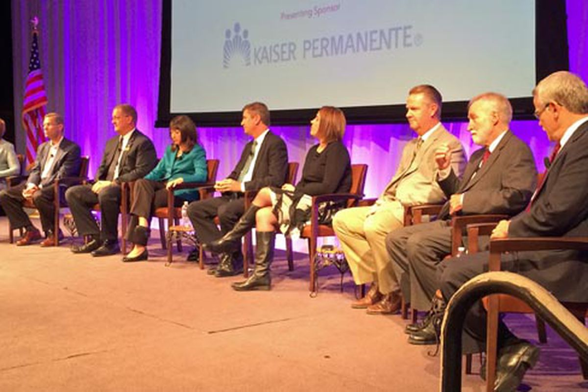 Group of superintendents prepared to answer question at PEBC Superintendent Forum.