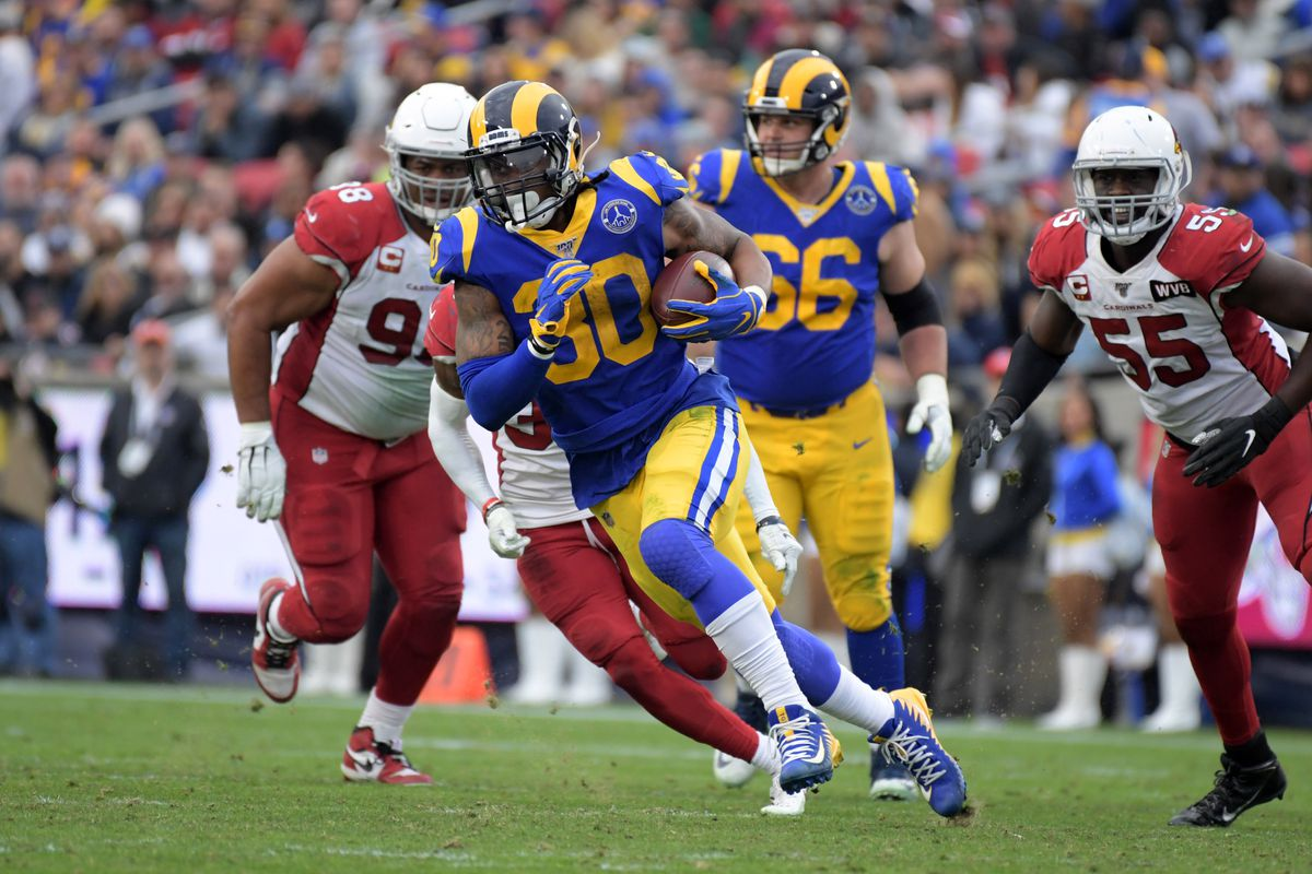 Los Angeles Rams running back Todd Gurley carries the ball in the thrid quarter of the final Rams home game at Los Angeles Memorial Coliseum before moving to SoFi Stadium for the 2020 season. The Rams defeated the Cardinals 31-24