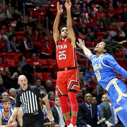 Utah Utes guard Alfonso Plummer (25) attempts a 3-pointer during the game against the UCLA Bruins at the Jon M. Huntsman Center in Salt Lake City on Thursday, Feb. 20, 2020.