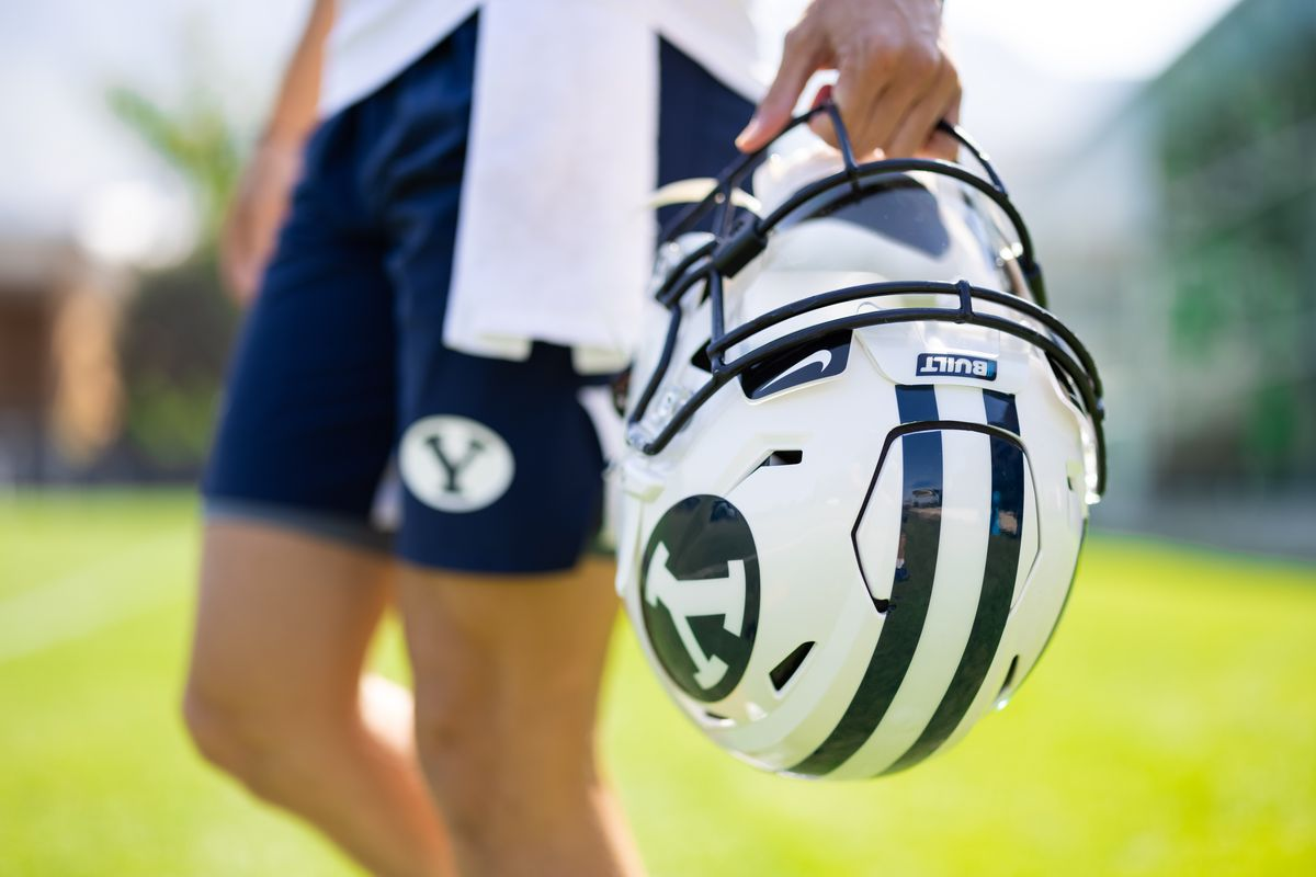 A Built logo can be seen on the helmet of a BYU player during fall camp in Provo, Utah.