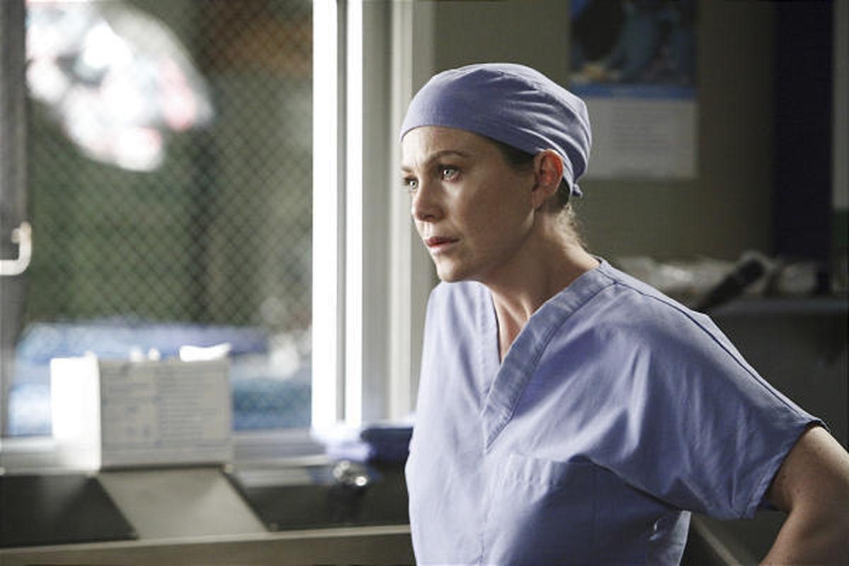 "Ellen Pompeo in a scene from the prime-time soap opera ""Grey's Anatomy."""