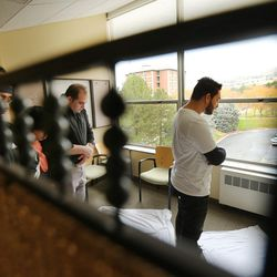 Muslim students Yesuf Jameel, Amir Othman, Ahmad Alsaleem and AJ Mal participate in afternoon prayers at the University of Utah's A. Ray Olpin Student Union on Monday, Nov. 16, 2015.