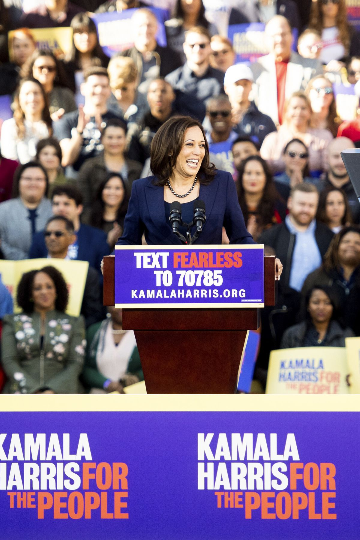 Sen. Kamala Harris (D-CA) speaks during a rally launching her presidential campaign in Oakland, California, on January 27, 2019.