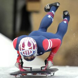 Noelle Pikus-Pace competes during the United States women's skeleton team trials Monday, Oct. 28, 2013, in Park City, Utah. Noelle Pikus-Pace was in first place after 2 heats.