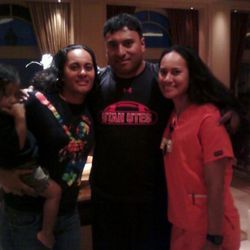 Kalani with his sisters, Toa (left) and Pamrose.
