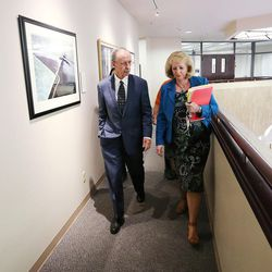 FILE - Salt Lake County Recorder Gary Ott leaves after meeting with the Salt Lake County Council in Salt Lake City on Tuesday, Oct. 4, 2016. The council reviewed an audit of the county recorder's office.