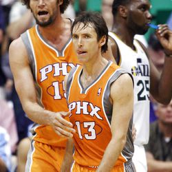 Phoenix Suns guard Steve Nash (13) and teammate Phoenix Suns center Robin Lopez (15) react to a foul call as the Utah Jazz and the Phoenix Suns play Tuesday, April 24, 2012 in Energy Solutions arena.