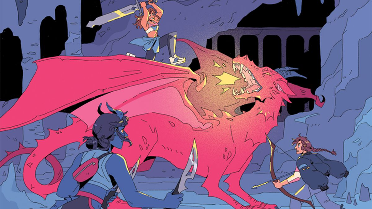 A party of three adventurers fights a red dragon in a subterranean city.