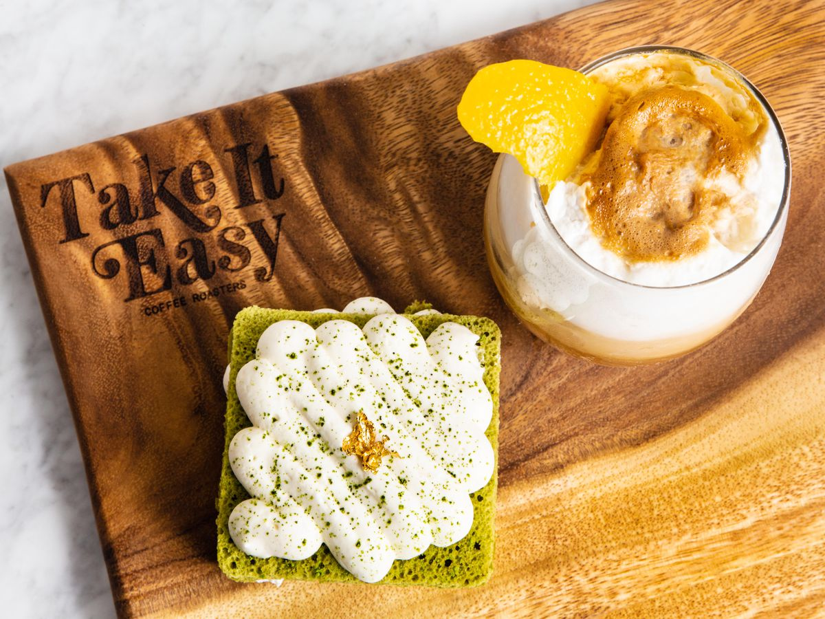 Matcha cake and the espresso fizz at Take It Easy
