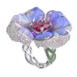 """Katherine Jetter <a href=""""http://www.stoneandstrand.com/rings/poison-berry-ring"""">Poison Berry Opal Ring</a>, $30,000"""