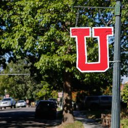 """A """"U"""" sign hangs in the neighborhood of a homicide scene in the 2200-block of South Broadmoor st in Salt Lake City where one person died on scene and another was transported to the hospital in critical condition, Sunday, Sept. 26, 2021."""