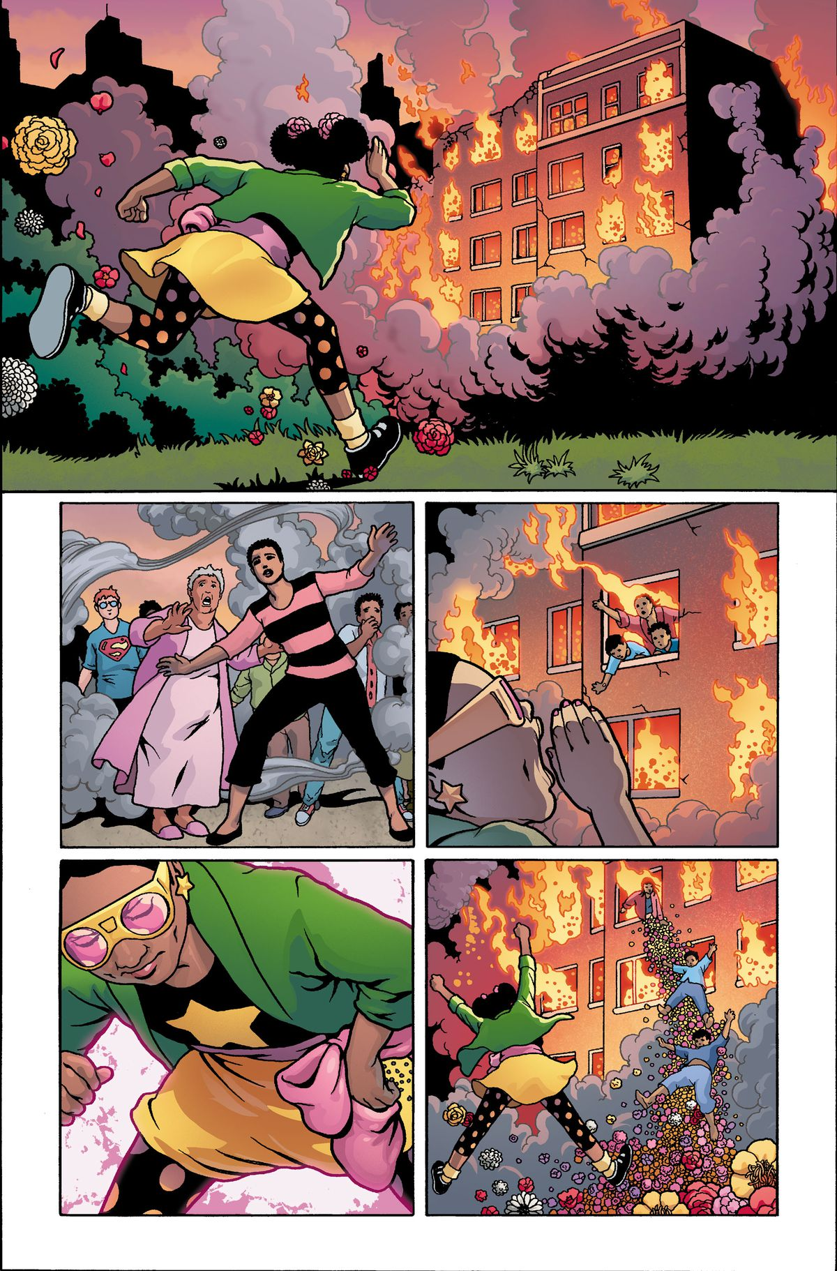 Star-Blossom, the pre-teen flower superhero, saves people from a burning building with a slide of flowers, in unfinished art from Wonder Woman #750, DC Comics (2020).