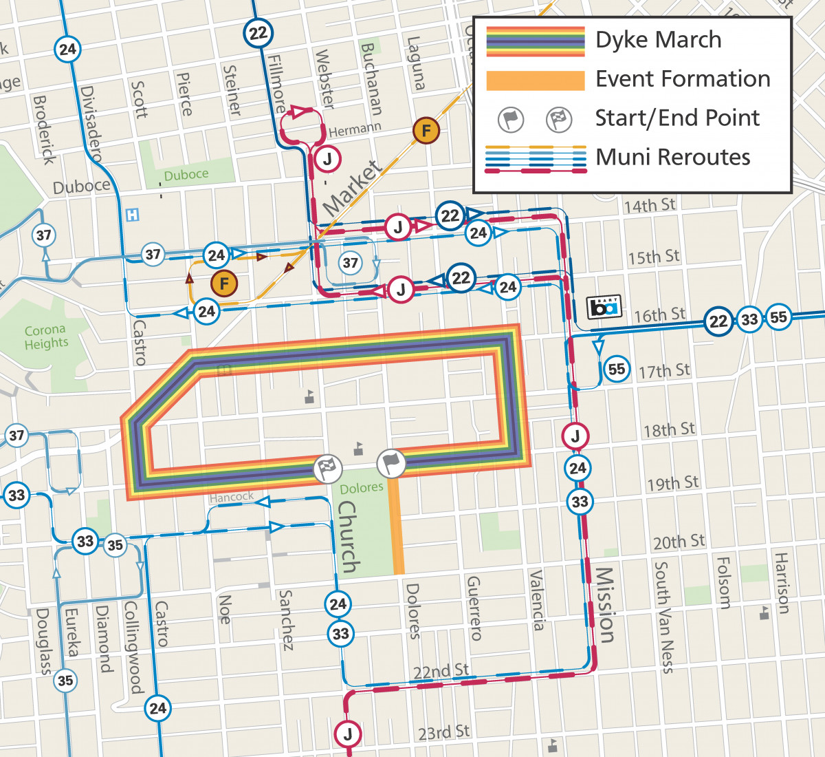Dyke March route, including Muni reroutes.