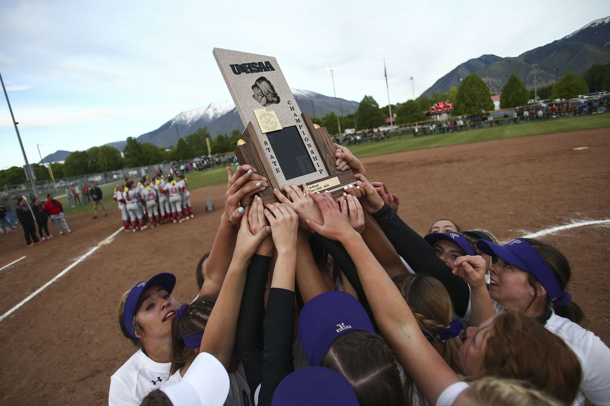 The Tooele Buffaloes celebrate defeating the Spanish Fork Dons 3-1 to win the 4A state championship at the Spanish Fork Sports Park in Spanish Fork on Saturday, May 18, 2019.