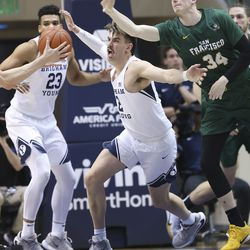 Brigham Young Cougars guard Zac Seljaas (2) competes for the ball in Provo on Saturday, Feb. 8, 2020.