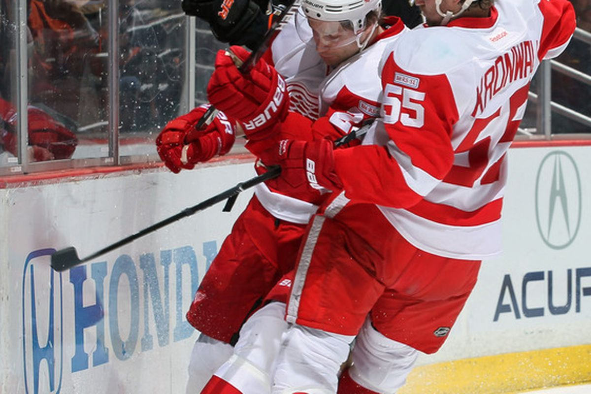Kronwall giving Stuart a taste of what happens if he doesn't re-sign with the Wings.