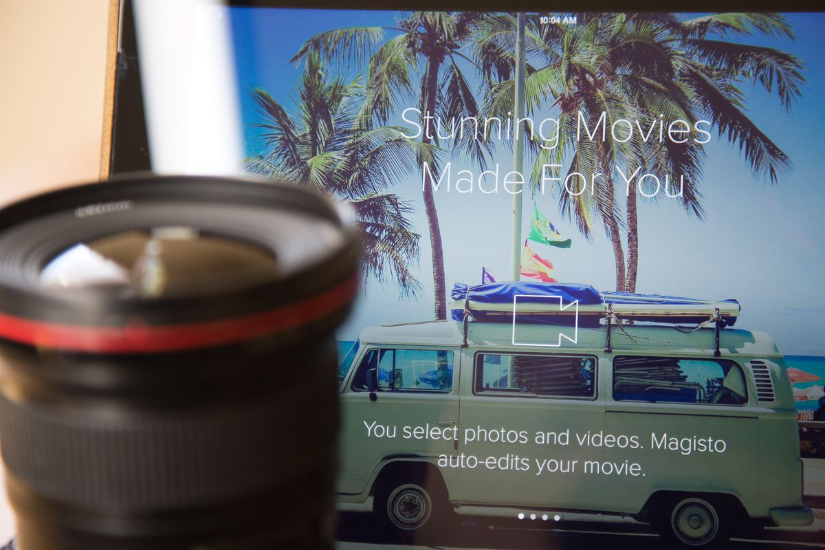 The Magisto app stitches your video clips together, chooses a theme for the video and adds effects.