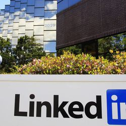 FILE-In this Monday, May 9, 2011, photo, LinkedIn Corp., the professional networking Web site, displays its logo outside of headquarters in Mountain View, Calif. Silicon Valley, it turns out, doesn't revolve around the stock prices of Facebook and its playful sidekick, Zynga. Instead, the optimism in Silicon Valley can be seen in a variety of ways in this area that covers roughly 40 miles from San Jose to San Francisco.