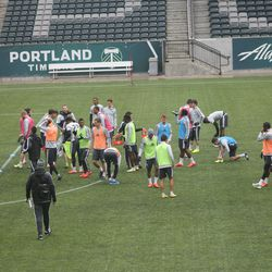 Timbers break up into groups before their fitness test.
