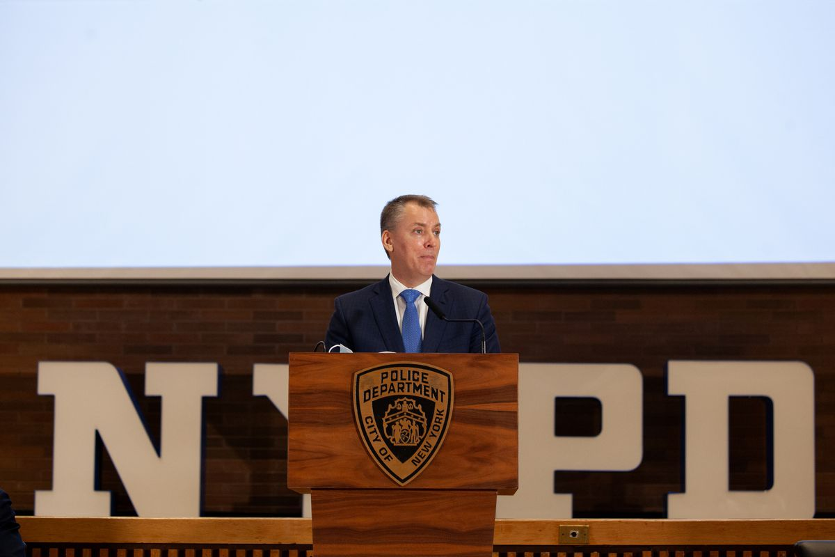 NYPD Commissioner Dermot Shea speaks at a One Police Plaza press conference about the department's response to a rise in anti-Asian hate crimes, March 25, 2021.