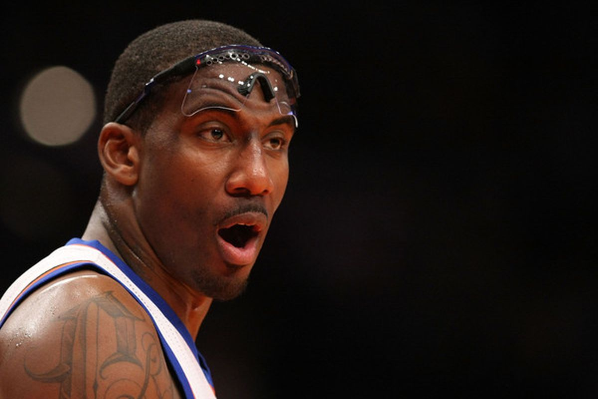 Amar'e Stoudemire (1 ) of the New York Knicks looks on against  the Miami Heat at Madison Square Garden on December 17 2010 in New York City.  (Photo by Al Bello/Getty Images)