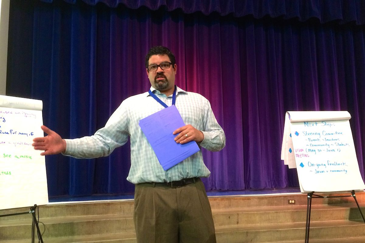 Jason Krause speaks to parents and teachers at Columbine Elementary School. He was introduced to the North City Park community March 10. He will be the school's fifth principal in seven years.