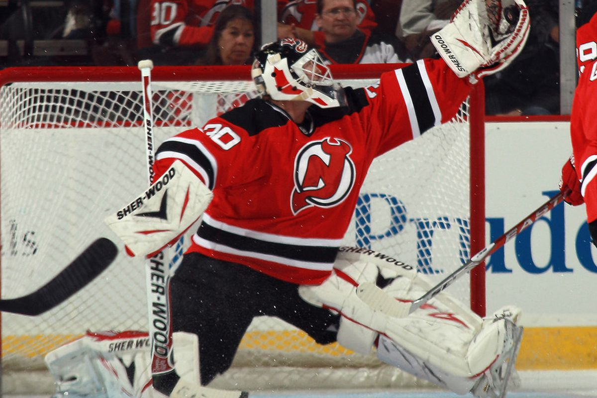 Martin Brodeur.  Another month, another set of big saves.  (Photo by Bruce Bennett/Getty Images)