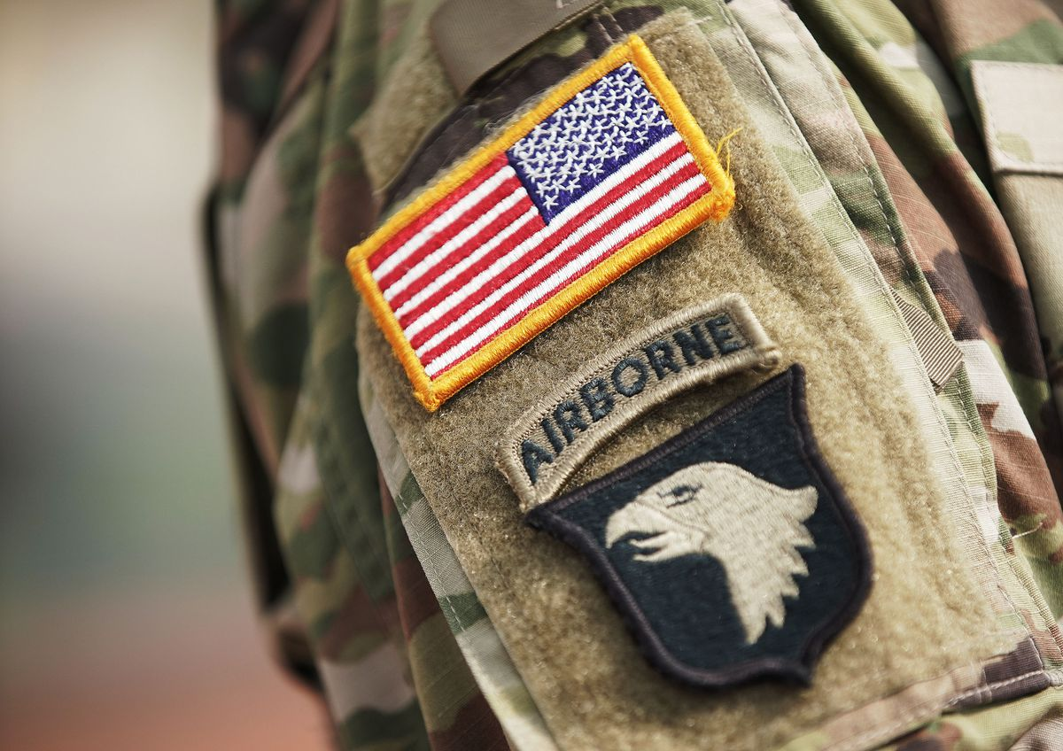 Badges on Utah National Guard Master Sgt. Christopher Caldwell's uniform are pictured at Camp Williams in Bluffdale on Wednesday, Sept. 1, 2021. The events of 9/11 inspired him to join the war on terror.