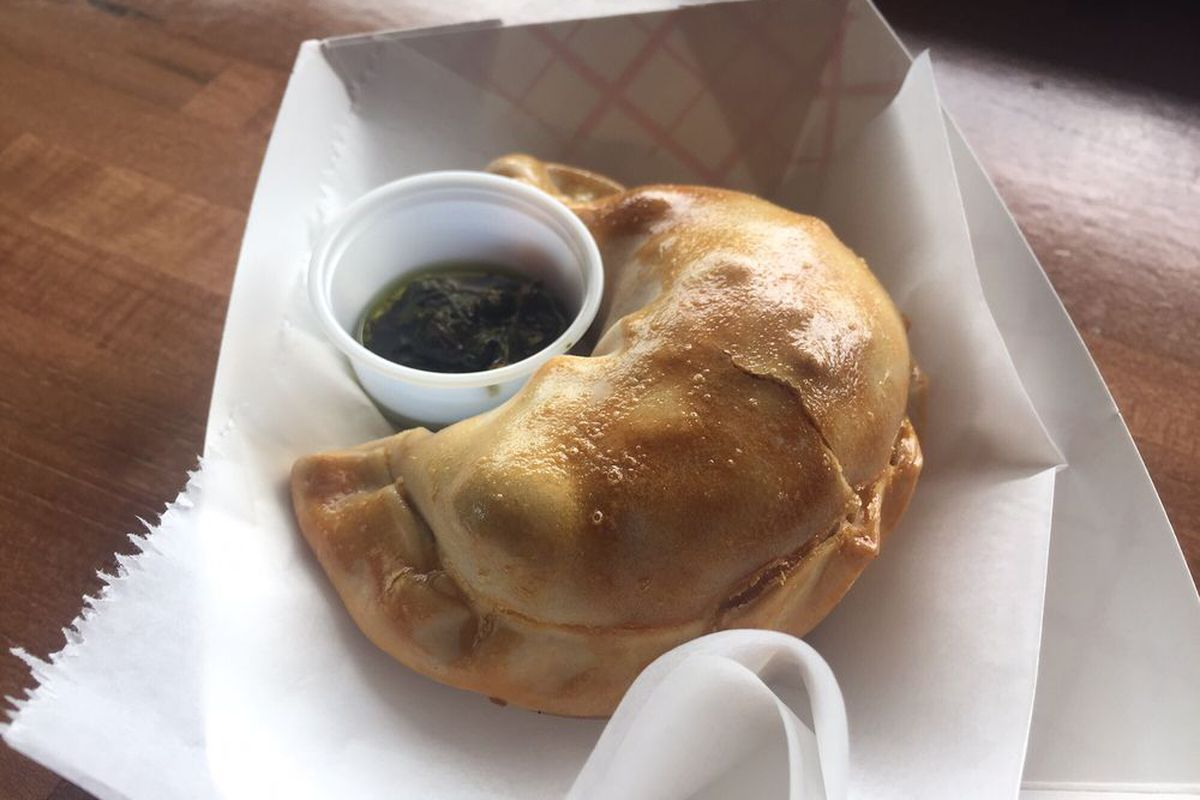 A chicken empanada from Cafe Nena'i