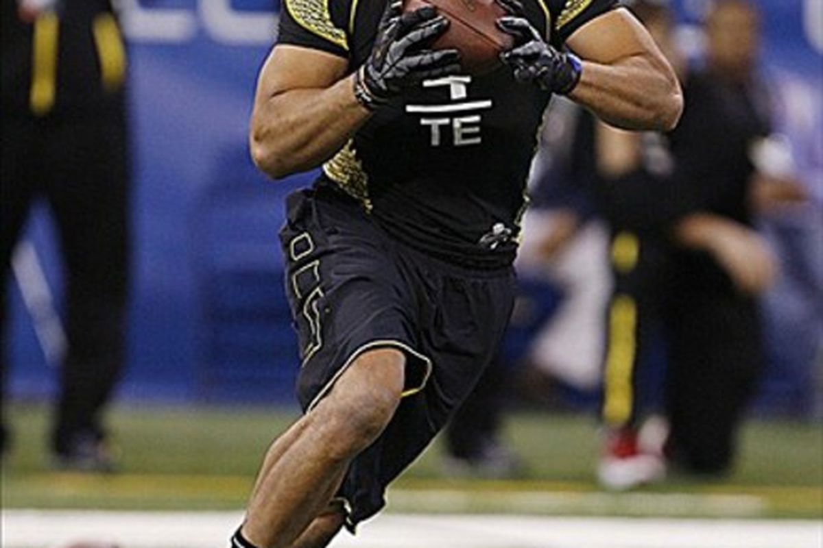 Feb 25, 2012; Indianapolis, IN, USA; Missouri Tigers tight end Michael Egnew participates in a catch and run drill during the NFL Combine at Lucas Oil Stadium. Mandatory Credit: Brian Spurlock-US PRESSWIRE