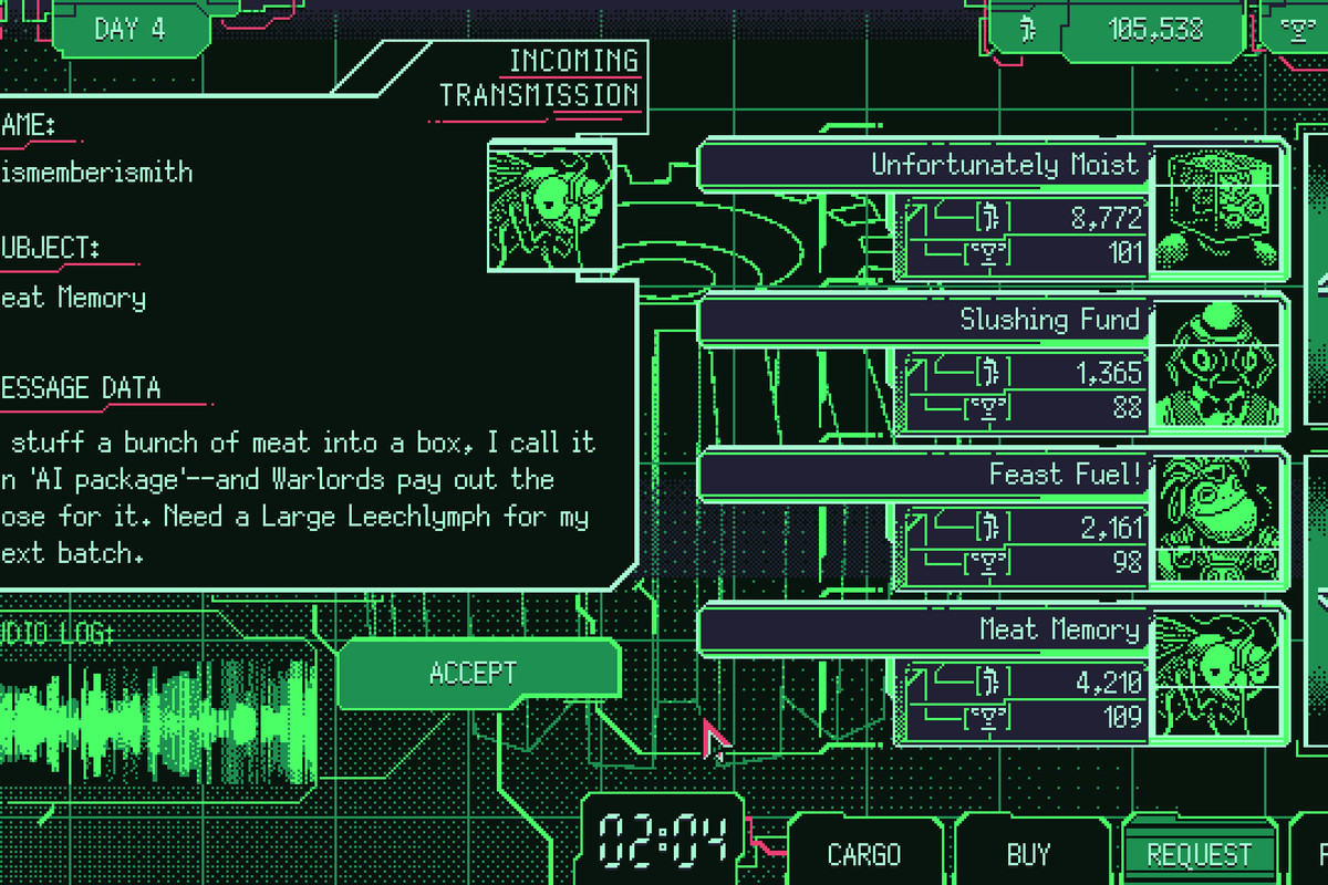 an image of a neon green text and a bunch of characters. there's a field that says message data and says: I stuff a bunch of meat into a box, I call it an 'AI package'— and Warlords pay out the nose for it. Need a Large Leechlymph for my next batch.