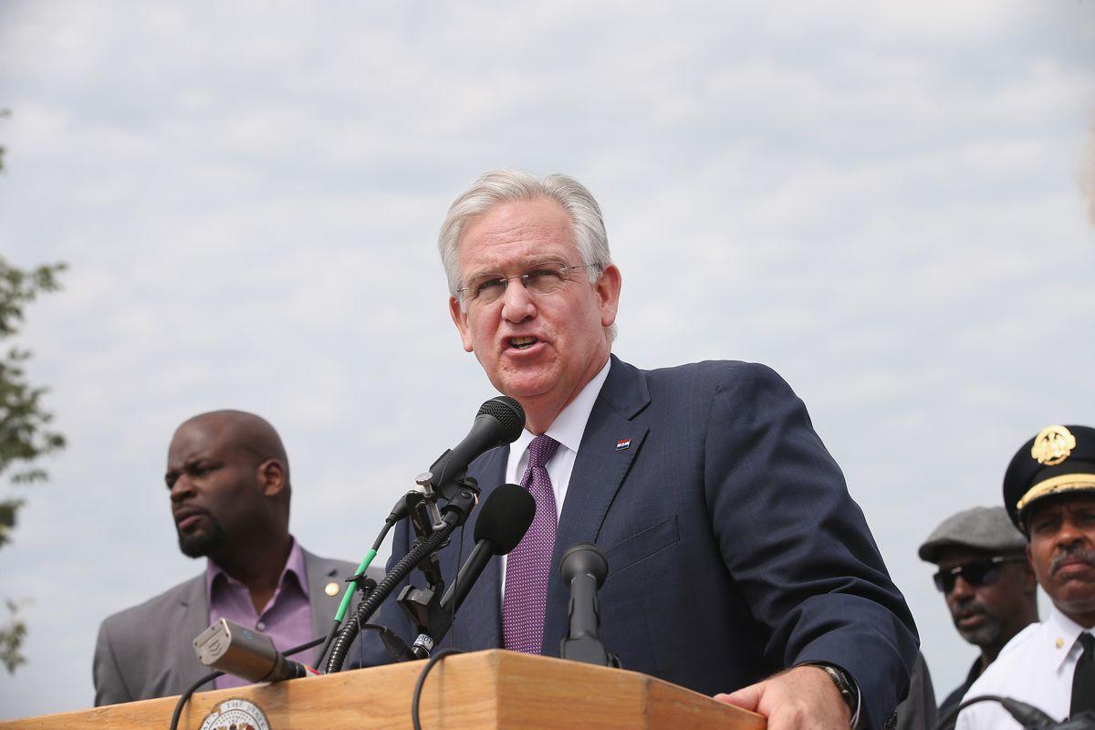 FERGUSON, MO - AUGUST 15: Missouri Governor Jay Nixon speaks to the media
