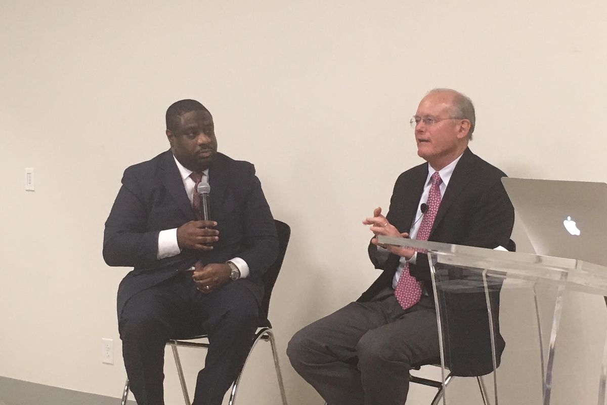 Marcus Robinson, left, CEO of Memphis Education Fund and author David Osborne at an event Tuesday in Crosstown Concourse.