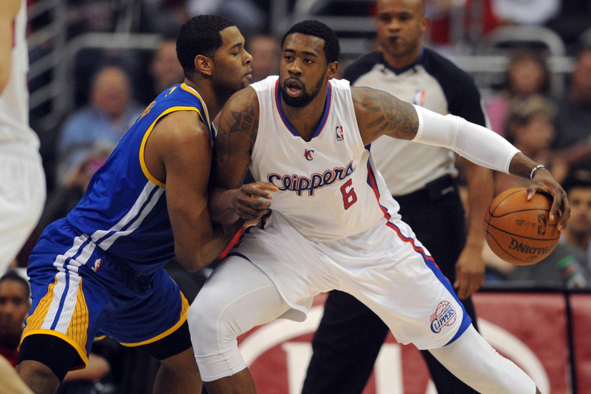 Apr 14, 2012; Los Angeles, CA, USA; Los Angeles Clippers center DeAndre Jordan (6) posts up on Golden State Warriors center Jeremy Tyler (3) during the first quarter at the Staples Center. Mandatory Credit: Kelvin Kuo-US PRESSWIRE