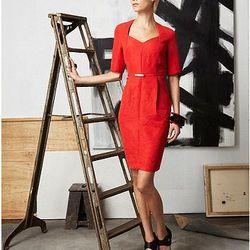 Sweetheart Short Sleeve Crinkle Dress, $75.00