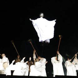 Jesus ascends heavenward in the Annual Easter Pageant at the Mesa LDS Temple in Arizona.