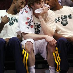 Gordon Hayward of the Utah Jazz at center of photo watches from the bench during a game against Minnesota in Salt Lake City on Friday, April 12, 2013.