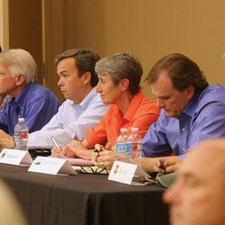 Interior Secretary Sally Jewell, center, sits with federal officials in a meeting in Bluff to hear comments from the people of the area about the proposed Bears Ears National Monument as she visits Canyon Counrty in southern Utah on Saturday, July 16, 2016.