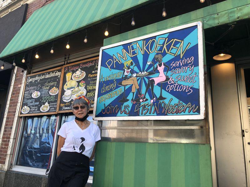Linda Ellis stands outside her North Side breakfast joint, Famous Dutch Pancake Huis - Pannenkoeken Cafe.