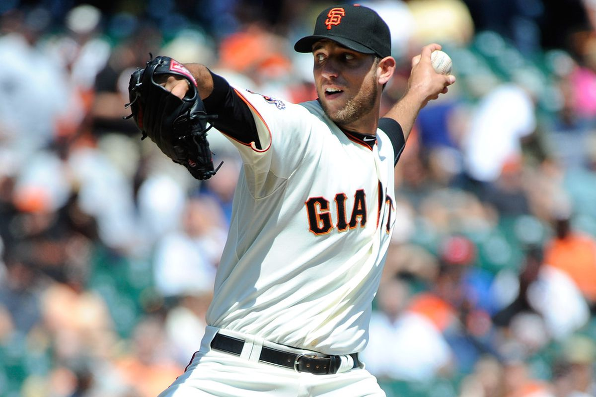 Madison Bumgarner of the San Fanciso Giants pitches against the Chicago Cubs in the first inning during a baseball game at AT&T Park in San Francisco, California.  (Photo by Thearon W. Henderson/Getty Images)