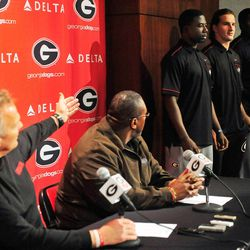 Georiga coach Mark Richt introduces new Georgia recruits Mark Beard, from left, Faton Bauta and Keith Marshall during national signing day at Butts-Meyer Heritage Hall on Wednesday, Feb. 1, 2012 in Athens, Ga.