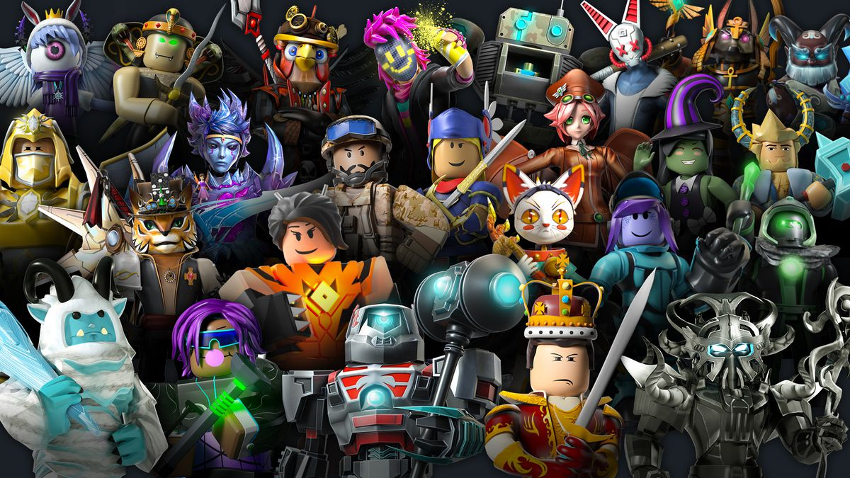 A large number of colorful Roblox avatars on a black background