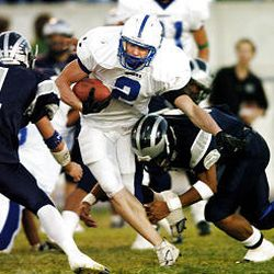 Bingham's Jonathan Cuff (2) has piled up 1,316 yards and 21 touchdowns to lift the Miners to a No. 1 ranking in the state this year. They have their hands full against No. 2 Brighton this week.