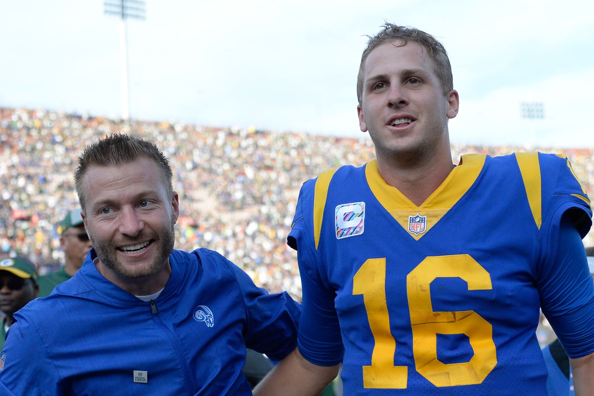 Los Angeles Rams HC Sean McVay and QB Jared Goff celebrate a 29-27 win over the Green Bay Packers at Los Angeles Memorial Coliseum, Oct. 28, 2018.