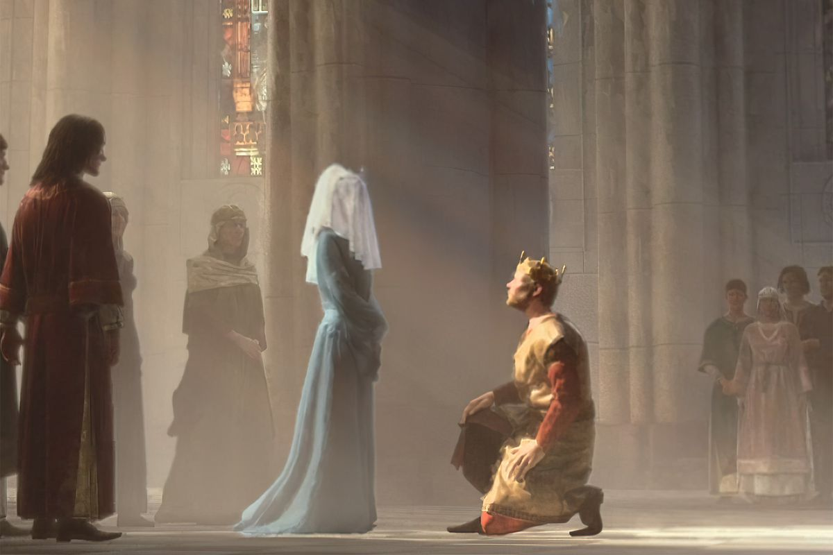 A closeup of a king kneeling before his bride in a massive cathedral.