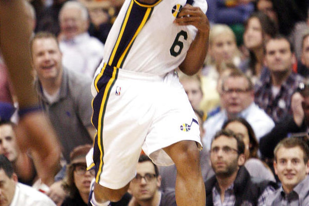 Utah Jazz point guard Jamaal Tinsley (6) saves the ball from out of bounds in Salt Lake City  Thursday, March 15, 2012.